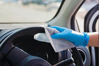 Sanitization of a steering wheel
